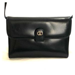 Vintage Gucci Dark Blue Leather Handbag